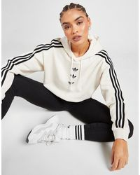 adidas Originals 3-stripes Repeat Trefoil Boyfriend Hoodie - Natural