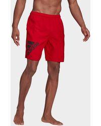 adidas Classic-length Logo Swim Shorts - Red