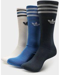 adidas Originals 3 Pack Crew Socks - Blue