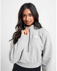 Nike Essential Crop 1/4 Zip Sweatshirt - Grey
