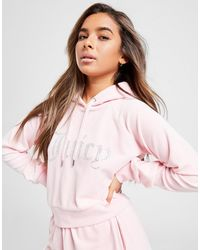 Juicy Couture Diamante Logo Velour Hoodie - Pink