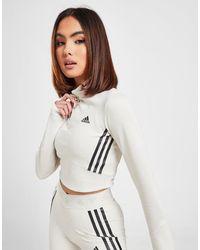 adidas 3-stripes Mesh Crop 1/4 Zip Top - White