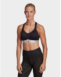 49c70369be1d6 Lyst - adidas Stronger For It Soft Printed Bra in Black