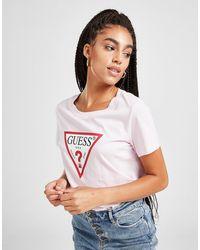 Guess Icon Logo Short Sleeve T-shirt - Pink