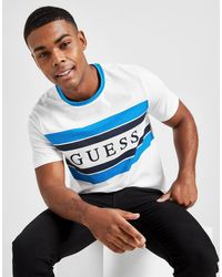 Guess Stripe Linear Panel T-shirt - Blue