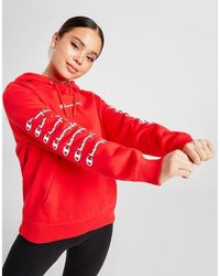 Champion Repeat Logo Boyfriend Overhead Hoodie - Red