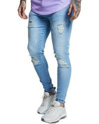 SIKSILK Distressed Jeans Homme - Bleu