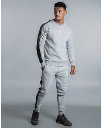 Gym King Pour Homme Fleece Crew Complet Survêtement Set Designer à Rayures Sweat Pantalon De Survêtement