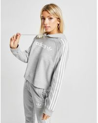 adidas Originals 3-stripes Linear Overhead Hoodie - Gray