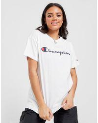 Champion Script Logo Boyfriend T-shirt - White