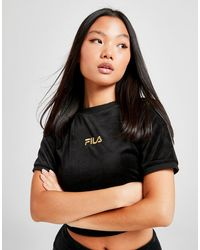 Fila Velour Ribbed Crop T-shirt - Black