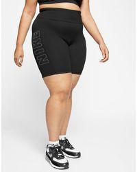Nike Air Plus Size Ribbed Cycling Shorts - Black