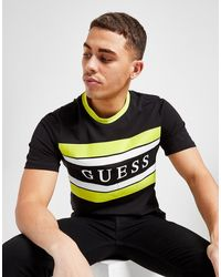 Guess Stripe Linear Panel T-shirt - Black