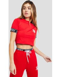 SIKSILK - Tape Sleeve Crop T-shirt - Lyst