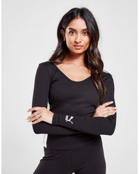 PUMA Classics Rib Long Sleeve Crop Top - Black