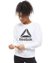 Reebok - Mesh Logo Crew Sweatshirt - Lyst