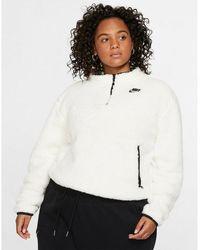 Nike Sportswear Sherpa Fleece 1/4-zip Top (plus Size) - Black