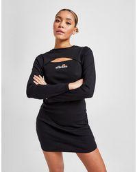 Ellesse Logo Rib Cut Out Dress - Black