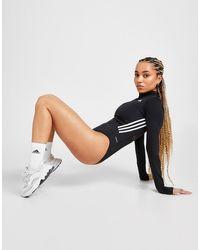 adidas 3-stripes Mesh Long Sleeve Bodysuit - Black