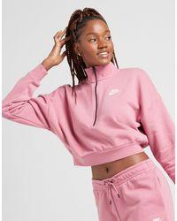 Nike Essential Crop 1/4 Zip Sweatshirt - Pink