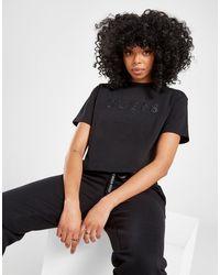 Guess Satin Logo Crop T-shirt - Black