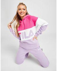 Fila Color Block Logo Boyfriend Hoodie - Pink