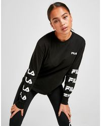 Fila Repeat Logo Long Sleeve Boyfriend T-shirt - Black
