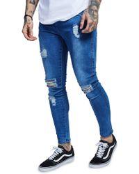 SIKSILK - Lowrise Distress Jeans - Lyst