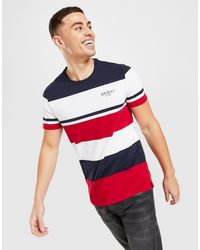 Guess Stripe Color Block T-shirt - Red
