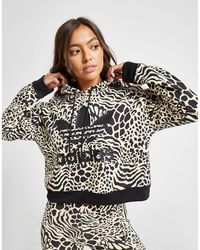 adidas Originals All Over Print Leopard Overhead Hoodie - Black