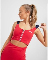 Fila Cut Out Zip Dress - Red