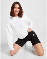 Guess Shine Triangle Logo Crew Sweatshirt - White