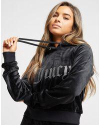 Juicy Couture Diamante Logo Velour Hoodie - Black