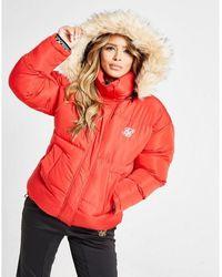 SIKSILK Fur Padded Jacket - Red