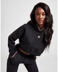 adidas Originals Lurex Tape Crop Overhead Hoodie - Black
