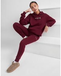 Nicce London Logo Fleece Sweatpants - Red