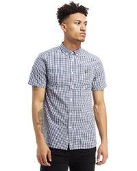 Lyle & Scott Short Sleeve Gingham Check Shirt - Blue