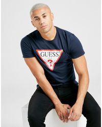 Guess Core Tri Logo Short Sleeve T-shirt Men's - Blue