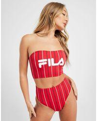 Fila Pinstripe High Waist Bikini Bottoms - Red