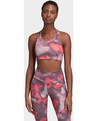adidas Designed To Move Allover Print Sports Bra Top - Pink
