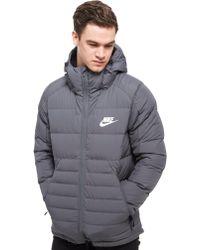 Nike Padded Down Hooded Jacket - Gray