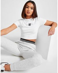SIKSILK Double Logo Slim Crop T-shirt - White