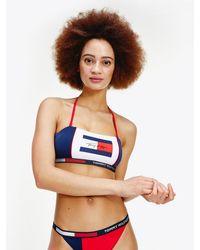 Tommy Hilfiger Flag Bandeau Bikini Top - Blue