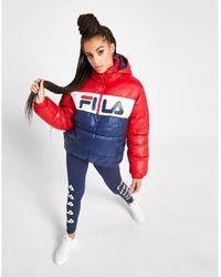 Fila Color Block Padded 1/4 Zip Jacket - Red
