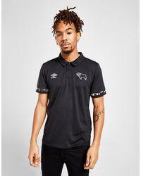 Umbro Derby County Fc Poly Polo Shirt - Black