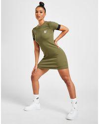 SIKSILK Rib Tape Logo Short Sleeve Dress - Green