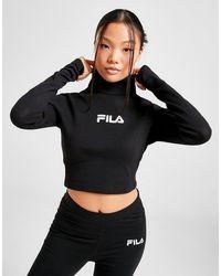 Fila Ribbed Hi-neck Crop Top - Black