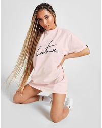 Ellesse X The Couture Club Neck Logo T-shirt Dress - Pink