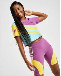 adidas Originals '90s Colour Block Crop T-shirt - Purple