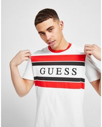 Guess Stripe Linear Panel T-shirt - White